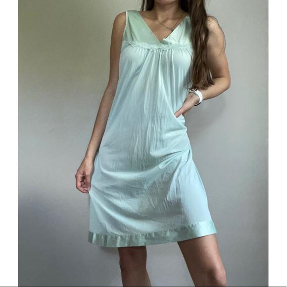 Vintage Mint Green Satin Nightgown